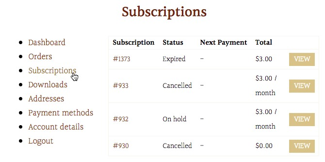 view subscriptions